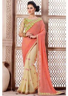 d'orange et crème viscose couleur et net saree travail skt, - 127,00 €, #Sariindienmariage #Robeindienne #Sariindien #Shopkund