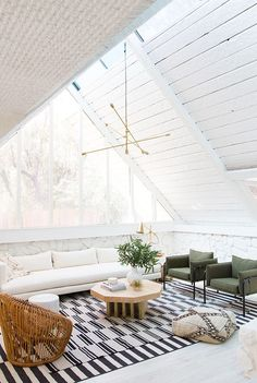 An A-Frame living room tour. Seriously obsessing over this A-Frame living room tour from Sarah Sherman Samuel. Boho Living Room, Living Room Lighting, Home And Living, Living Room Decor, Living Spaces, Modern Living, Living Rooms, Small Living, Coastal Living