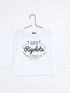 Tee-shirt coton imprimé                                                                              blanc Petite fille  - Kiabi