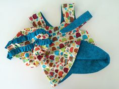 Reversible Baby Girl Pinafore Crossover Dress, Diaper Cover, & Headband Set Turtles and Turquoise 6 to 12 months by OurMichelleDesigns on Etsy