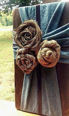 Handmade, OOAK Decorative Cross; Rustic/Country/Shabby-Chic, Chambray & Burlap