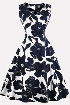 CMKEJI Women's A-Line Knee-Length Vintage Evening Kleider Rockabilly Dress Festive Party Dresses Cocktail Dresses 50s Dresses, Pretty Dresses, Vintage Dresses, Beautiful Dresses, Fashion Dresses, Summer Dresses, Rockabilly Dress, White A Line Dress, Dress Black