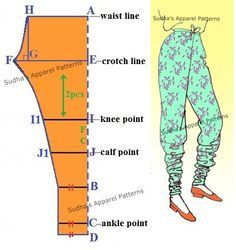 Churidaar is a leg wear which is usually combined with a Kameez/ Anarkali/Short Kurta. Unlike Salwaar, it is a more fitted garment around thighs, knees, calf and ankle. In this post, I have shown pattern making of the very basic Churidaar including seam allowance.
