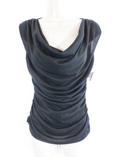 NWT SOFIA VERGARA Size XS BLACK DRAPED NECK RUCHED SIDE TOP #SofiaVergara #KnitTop #Any