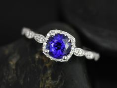 Christie Designed White Gold Blue Sapphire and Diamonds Cushion Halo With Milgrain Engagement Ring