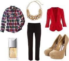 3 of 3 looks for Target Plaid Shirt:  Shirt, Dress Pants, Blazer, Heels, Necklace, Nailpolish. dvchic