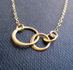 Eternity necklace, three interlocking circle necklace, 14k gold filled chain, multi circle link necklace