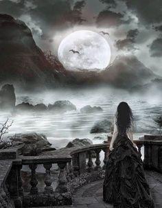 Ideas Dark Love Art Fantasy Gothic For 2019 Dark Fantasy Art, Fantasy Magic, Fantasy Girl, Dark Art, Dark Gothic Art, Art Noir, Dark Love, Arte Obscura, Moon Photos