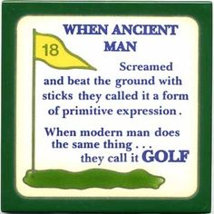 ANCIENT MAN AND GOLF TODAY- WALL PLAQUE - TRIVET #308 ...