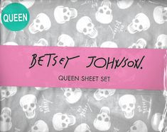 Authentic Betsey Johnson Skulls Galore QUEEN Sheet Set NEW #Unbranded #Teen
