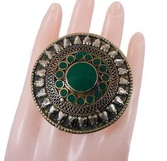 Big Boho Ring, Vintage Kuchi Ring, Green, Two Finger, Afghan Ethnic, Turkish Jewelry, Statement, Gypsy, Mixed Metals, Unisex Mens Mans