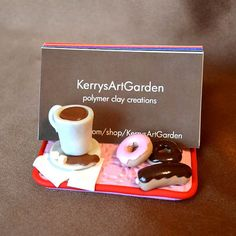 Coffee & Donuts Polymer Clay Business Card by KerrysArtGarden, $25.00 Polymer Clay Figures, Polymer Clay Miniatures, Fimo Clay, Polymer Clay Charms, Polymer Clay Projects, Polymer Clay Creations, Clay Crafts, Business Card Displays, Business Card Holders