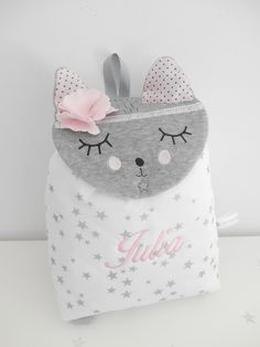 Rabbit Head, Cat Backpack, Embroidered Bag, Kids Backpacks, School Bags, Baby Shoes, Creations, Etsy, Children