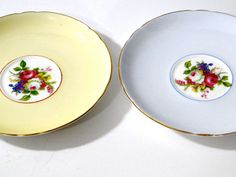 Vintage Shelley Two Saucers Fine Bone China Pattern Richmond Tea // 1940s by SueEllensFlair on Etsy