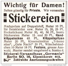 Original-Werbung/ Anzeige 1910 - STICKEREI- VERSANDHAUS GERMANIA - BERLIN - ca…