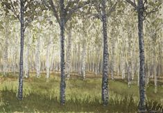 Birches trees painting, trees painting, birch forest, woodland landscape watercolor, original fine art, landscape painting, birch tree art   Asmoth Daeva