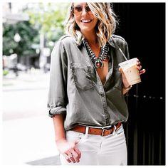 Button down + statement necklace.