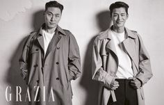 Actors Seo In Guk and Oh Dae Hwan, who are co-stars in the upcoming drama 'Shopping King Louie', are featured in the latest issue of 'Grazia' magazine, where they showcase their masculine charms in fall apparel and slicked back hair. Shopping King Louis, Grazia Magazine, Seo In Guk, King Louie, Korean Entertainment, K Idol, Love Affair, Back To Black, Asian Men