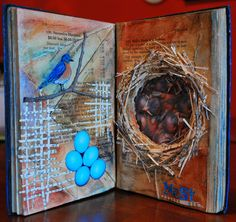 Bird and nest, beautiful altered book, collage Art Journal Pages, Art Journals, Libros Pop-up, Altered Book Art, Scrapbooking, Book Projects, Clay Projects, Collage, Handmade Books