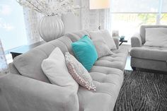 Turquoise and grey Living Room Design, Pictures, Remodel, Decor and Ideas