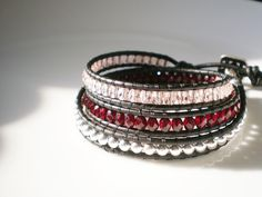 Leather Wrap Bracelet Pink Silver Garnet