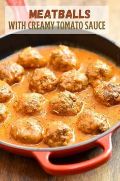 Meatballs with Creamy Tomato Sauce for an easy weeknight dinner that's ready in minutes! With juicy, flavorful meatballs in a creamy tomato sauce, they're amazing with steamed rice, mashed potatoes or noodles! #easymeals #beefrecipes #weeknightdinners Sauce Recipes, Meat Recipes, Crockpot Recipes, Dinner Recipes, Cooking Recipes, Recipies, Healthy Recipes, Tomato Gravy, Creamy Tomato Sauce