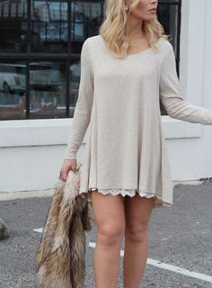 Off white long sleeve ribbed sweater dress with lace trim detail Cotton, Polyester Runs true to size Model is wearing a Small Comfy Dresses, Cute Summer Dresses, Cheap Dresses, Cute Dresses, Cozy Clothes, Autumn Clothes, Cute Vacation Outfits, Sadies Dress, Off White Long Sleeve