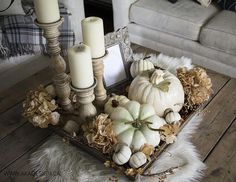 Free Fall Printable Art and a Little Vignette in Our Living Room fall coffee table vignette Coffee Table Vignettes, Coffee Table Centerpieces, Decorating Coffee Tables, Centerpiece Ideas, Blue Centerpieces, Fall Vignettes, Fall Home Decor, Autumn Home, Thanksgiving Decorations