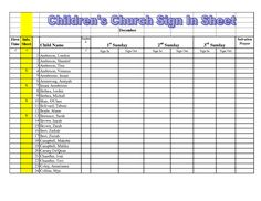 Children S Church Sign In Sheet Template Google Search