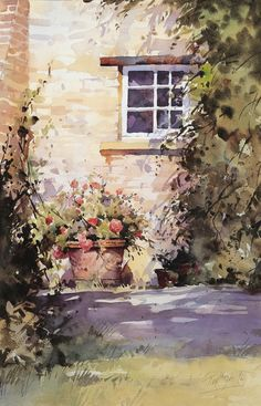 """A corner of the Garden"" watercolour by Trevor Waugh ©"
