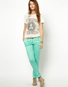 Casual mint pants with graphic tee