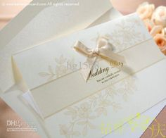 50pcs White wedding favors Invitation card/Wedding Invitations with lace