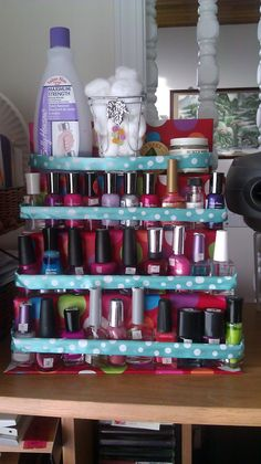 cool craft project-spice rack nail polish holder