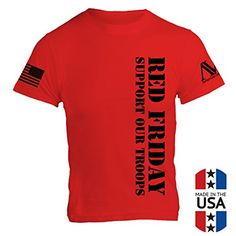 American Warrior Mens RED Friday T-Shirt X-Large Red. Front, left chest - RED Friday, Support Our Troops. Right Shoulder - Reverse US Flag - Left Shoulder - American Warrior Logo. Back - RED Friday official seal/emblem with American Warrior Logo. A portion of all sales from American Warrior are donated to Veteran Charity. PLEASE NOTE: The American Warrior storefront is the only legal seller of American Warrior mechandiese. All other sellers are unauthorized.