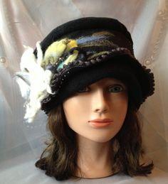 Black fleece cloche hat women ladies beige white by Tatiana123, $90.00
