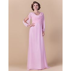 Lanting Bride® Sheath / Column Plus Size / Petite Mother of the Bride Dress Floor-length Long Sleeve Chiffon with Criss Cross / Ruching – USD $ 89.99