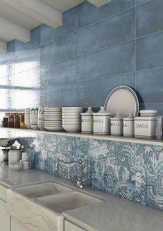 LATERZA: Laterza Azul, Nevers Azul 25x75cm. | Wall Tiles White Body | VIVES Azulejos y Gres S.A. #kitchen #tile #style