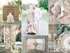 Southern blush wedding inspiration board with vintage details, calligraphy, and a blush wedding dress.