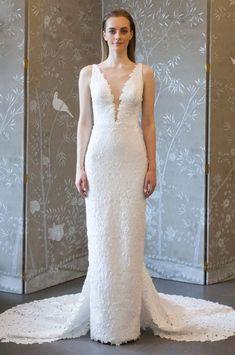 5110d460e8 romona keveza spring 2018 bridal sleeveless deep v neck lace sheath wedding  dress mv v back elegant chapel train -- Romona Keveza Collection Spring  2018 ...