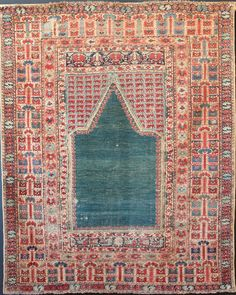 """18th century Ghiordes prayer rug in decent condition 4'4"""" x 5'4"""". Beautiful and unusual abrashed green field niche. Side cords replaced, and small amounts of home-made soumac stitch to edges and one ..."""