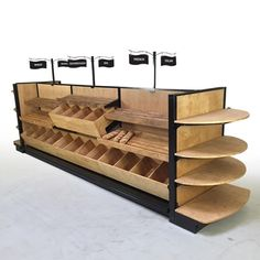 """lozier madix wood gondola store shelving for bakeries SODABREAD - Bakery & Pastry Display Case Shelving - Your Choice Stain & Signs 54""""H Island x 15ft-11""""L"""