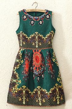 REGISTER ON PERSNMALL.COM 3D Floral Print Sleeveless Dress
