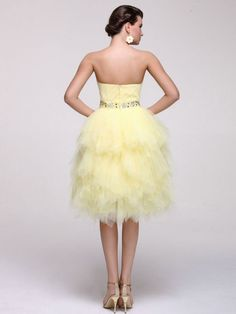 A-line Strapless Knee-length Daffodil Tulle Cocktail Dress CD024