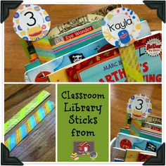 DIY Classroom Library Sticks: in theory, students would place a library stick with their name on it in the basket they got the book from. When it comes time to return, the students know right where the book goes.