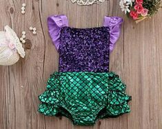 Mermaid  romper ,baby romper first birthday outfit ,cake smash romper