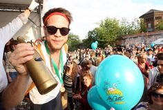 """A member of the winning team of the Hipster Olympics 2012. There were hip events, such as """"skinny jeans tug-o-war"""" and """"vinyl record spinning contest."""" Why don't I live in Berlin? This needs to be seen across the Atlantic."""