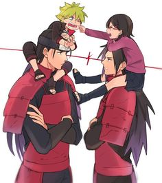 NARUTO SHIPPUDEN, Senju Hashirama and Uzumaki Bolt with Uchiha Madara and Uchiha Sarada.