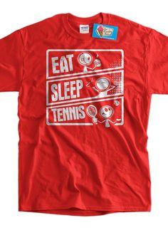 Funny Tennis  T-Shirt Sports  Eat Sleep Tennis Gifts for Dad Screen Printed T-Shirt Tee Shirt T Shirt Mens Ladies Womens Kids Youth