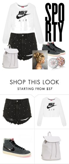 """""""Shorts and Baggy Jumpers"""" by isabellehuddleston-1 ❤ liked on Polyvore featuring Topshop, NIKE, Aéropostale and Guerlain"""