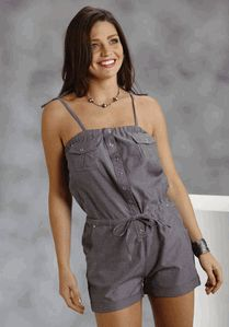 Women's Roper Black Chambray Romper with Spaghetti Tie Straps